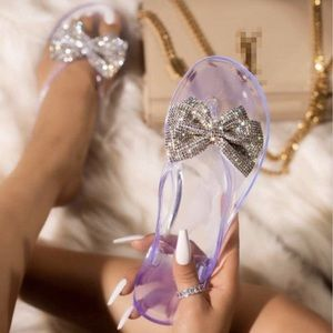 Clear Jelly Rhinestone Bow Thong Sandals